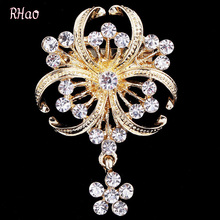 Romantic RHao Water Drop Design Brooches for women Wedding and party dress,Gold Rhinestone brooches,bridal pins,hijab pins,alloy