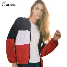 CWLSP Autumn Winter Hoodies Jacket Women 3 Colors Patchwork Bomber Jackets Female Coats outwear giacca di pelle donna QA1972(China)