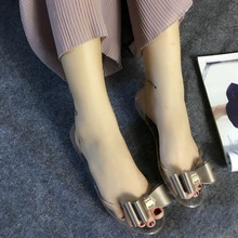 Women Clear Crystal Sandals Bow Peep Toe Soft Bottom Beach shoes Summer Fashion PVC Transparent  Women Sandals newest arrival