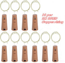 10pcs/lot Cork Shape Bottle Copper Lights 2M 20 Leds Button Battery Operated LED String Light Xmas Wedding party Decoration(China)