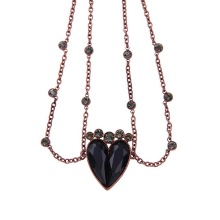 Gothic Black Love Heart Necklace  Rhinestone Necklace for Women Boutique Jewelry Wholesale