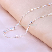 silver plated beads chain fashion women Costume Accessories cross length 16 18 20 22 24 26 28 30 inch gold-color necklace