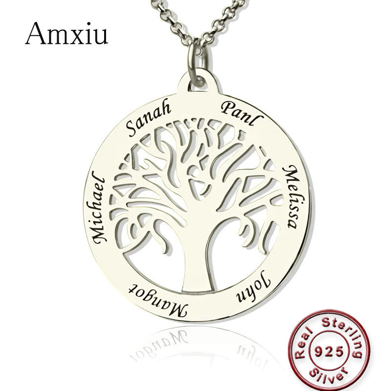 Amxiu Custom Family Tree Pendant Necklace Engrave Six Names 925 Silver Necklace Jewelry For Mother Team Members Souvenirs Gift