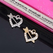 2017New 100pcs Rhinestone Piercing heart Button For necklace Pendant or DIY Hair accessories ZJ323(China)