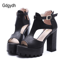 Gdgydh Hot Sale 2017 New Brand High Heels Sandals Summer Platform Sandals for Women Fashion Buckle Thick Heels Shoes Big Size 42(China)