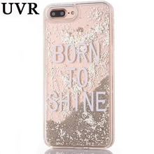 UVR Born to Shine Miss Girl Boss Word Dynamic Ball Quicksand Pink Silver Case Coque Funda for iPhone 6S 7 8 Plus X Diamond Cover(China)