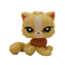 Original 1pcs quality cute toys Lovely Pet shop animal Small brown yellow cat action figure littlest doll toys2325(China)