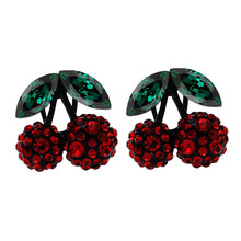 2017 new summer girlgriend birthday gift cute berry design rhinestones high quality ear clip party earrings women Jewelry 80377(China)
