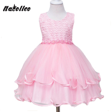 2017 New Champagne Color Girl Dress Wedding Princess Tutu Kids Party Prom Dresses for Teenage Sleeveless Beading Kids Clothes(China)