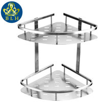 BLH 821 Double Tier Brushed Nickel Stainless Steel Wall Bathroom Shelf Shower Caddy Rack Bathroom Accessories Shelves 2-layers(China)