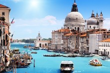 venice italy Santa Maria della Salute cities architecture buildings canal cloth silk art wall poster and prints(China)