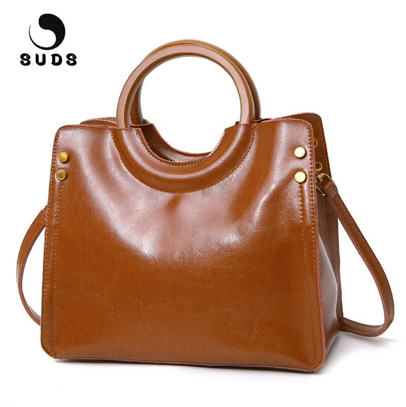 SUDS Brand Women Genuine Leather Handbags Vintage Female Messenger Bags Luxury Handbags Women Bags Designer Cow Leather Tote Bag<br>
