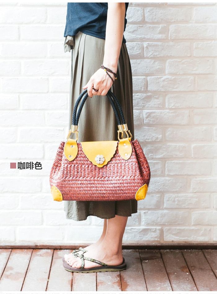 European station ladies handbag handbag seaweed weaving package fashion eco-covered rattan bag retro retro bag
