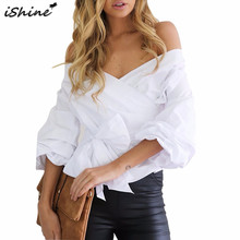 iShine  Ruched sleeve wrap white blouse shirt Women casual blouse off shoulder Plaid shirt top V neck female blusas bow tie tops