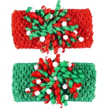 Cute Baby Infant Coker Bows With Crochet Headband Children Christmas Hair Accessories