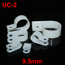 "130pcs UC-2 9.5mm 3/8"" White Plastic Nylon Wire Hose Tube Fansten R-Type Fixed Cable Tie Mount Organizer Holder R Clip Clamp"
