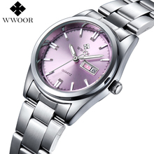Wwoor Brand Women Watches Fashion Casual Quartz Watch Women Full Stell Date Day Waterproof Sport Ladies Watch Relogio Feminino(China)