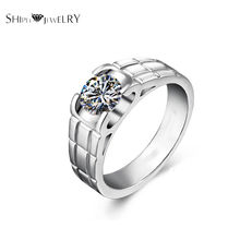 Brand Jewelry SHIPEI Women Fashion Band Ring In Plated White Gold with Top Round Crystal,Carat Total Weight 1.88(China)