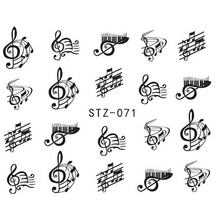 1 Sheet Nail Art Decorations Nail Sticker DIY Black Colors Music Note Nails Designs Water Transfer Decals Styling Tools TRSTZ071