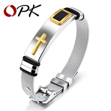OPK Punk Cross Bracelet For Men Length 16.5-21 CM Mesh Strap Band Stainless Steel Black/ Gold Color Male Wrap Bracelets GH878