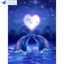 Zhui star full square drill diamond embroidery Dolphin lover 5d diy diamond painting Cross Stitch Rhinestone mosaic decoration