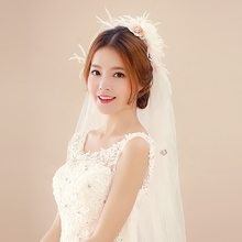 Whosale Korean Lace Flower Veil For Bride Luxury White Long Mantilla Wedding Veils Handmade Applique Edge Veu De Noiva SG459