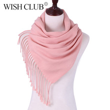 Brand Cashmere Women's Scarf Warm Winter Scarf For Women Solid Tassel Female Shawl Wrap Women Scarves Scarf Shawl Pashmina(China)