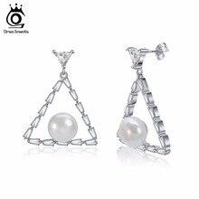 ORSA JEWELS Women Earrings Stud Triangle Shape AAA Cubic Zircon Simulated Pearl Silver Fashion Female Earring Jewelry PE107