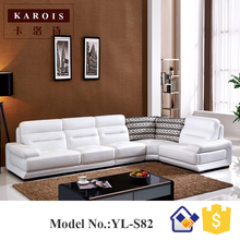 Living Room Furniture FoShan White pure Leather Sectional Sofa Set,genuine leather sofa set