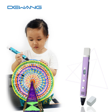 DEWANG Patent USB 3D Pen Art Smart Drawing Pen Printing Pen Kid Education Toy with 10 colors 5M Free ABS/PLA +addition Filament