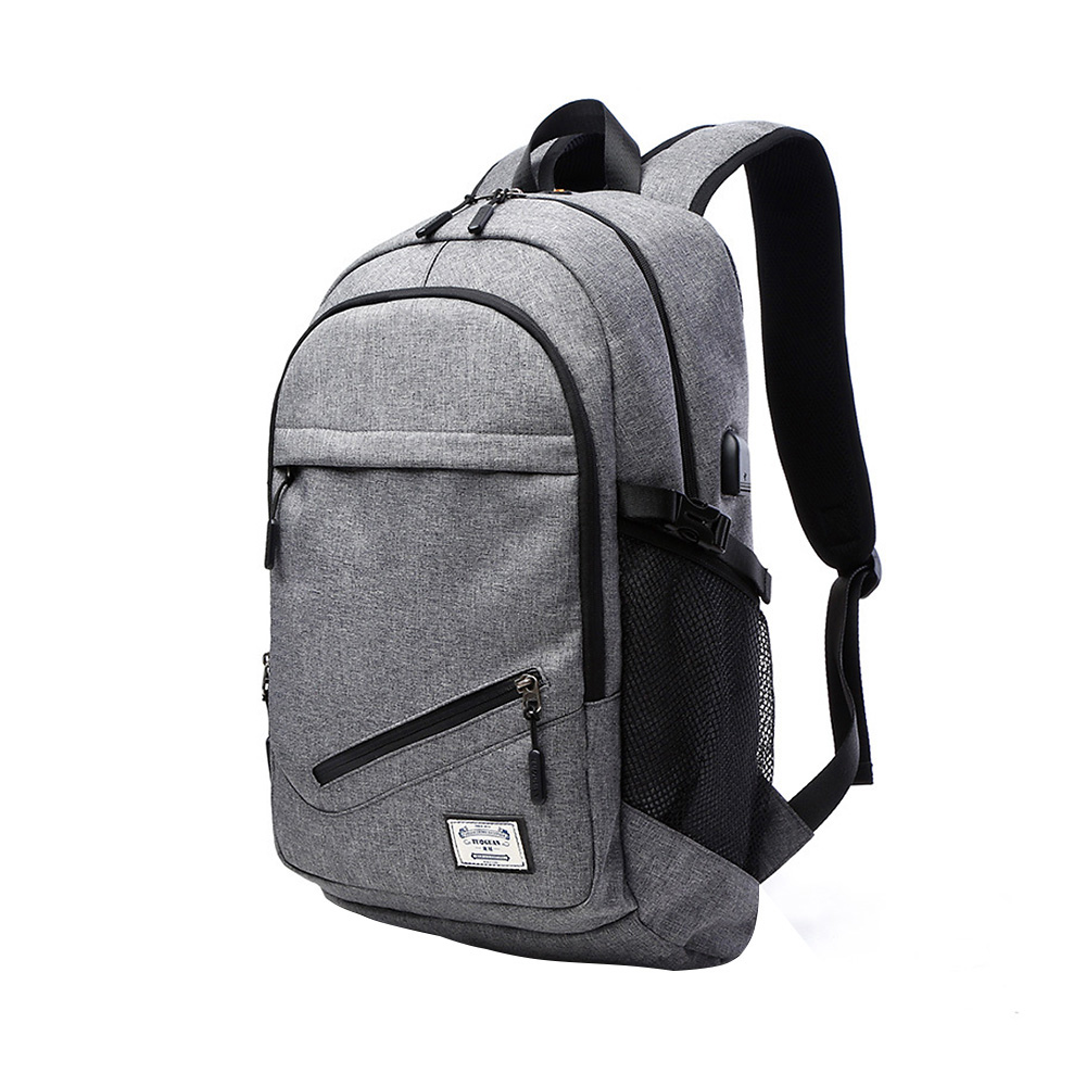 15.6 Inch Laptop Backpack Mochila Escolar Men Canvas Backpacks With USB Charger Large Capacity Travel Bags With Net Pocket <br>