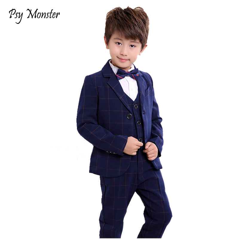 School Boys Plaid Wedding Blazer Suit Brand Flower Boys Formal Tuxedos Suit Kids Clothing Set enfant garcon mariage Clothes F80<br>