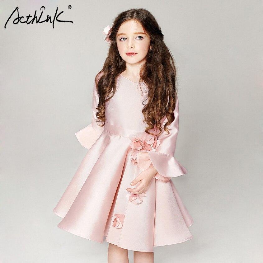 ActhInK New Design Girls Princess Pink Wedding Evening Party Dress Brand Flower Girl Formal Bridesmaids Long Sleeve Dress, YC132<br>