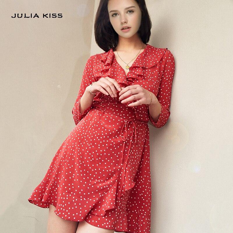 Michael Kors Wrap Dress Women Plunging V-Neckline Ruffle Trim Tie Waist Wrap Dress Print Stars  Three Quarter Mini Dress