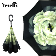 Yesello Flower Gardenia Folding Double Layer Inverted Umbrella Self Stand Inside Out Rain Protection Long C-Hook Hands For Car(China)