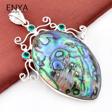 Free Shipping Unique Exotic Gems Pendant Natural Abalone Shell Pendant 100% Hand Made P0424