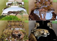 3D Cotton Bedclothes Bedding Sets 4Pcs Duvet Cover Quilt Covers Bedroom Cover Bed Sheets Pillowcase Hidden In The Dark Cheetah