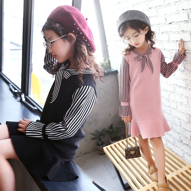 Autumn New Pattern Hot School Wind Knitting Girl Stripe Long Sleeve False Two Paper Dress Kids Clothing Bow<br>