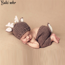 Deer Set Brown Color Design Hat Handmade Cartoon Costume Knitted Crochet photography props Newborn photo baby Caps Hats