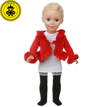 Boneca Roupa American Girl Doll Clothes Red Dance Costume Suit for 18 inch Dolls Accessories MG-540(China)