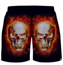 Summer style Men's Shorts skull 3D Print Short Pants Casual Breathable Beach Shorts out wear(China)