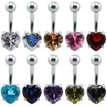 Heart bar navel belly heart surgical steel belly ring anodizing accessories navel rings blue navel belly button ring pircing