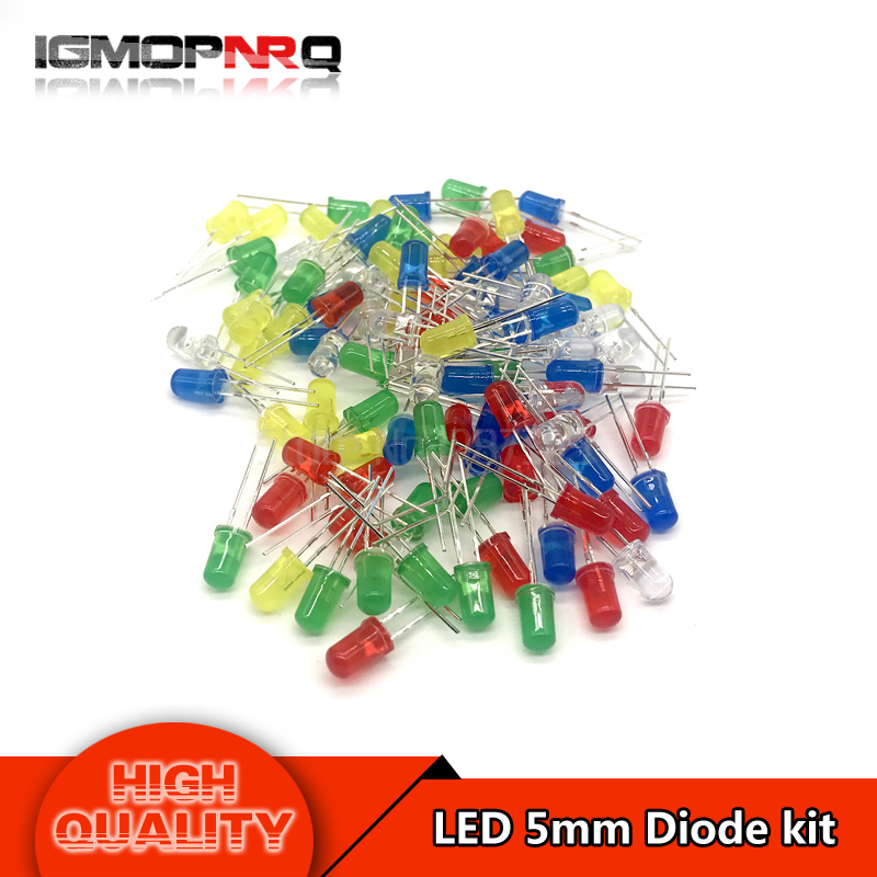 5Colors*20PCS 100PCS 5mm LED Diode Light Assorted Kit Green Blue White Yellow Red COMPONENT DIY(China)