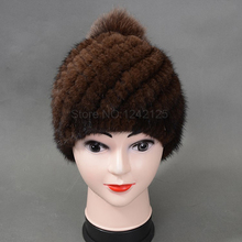 Parent-child New Special promotion women girl fashion Luxurious winter warm genuine leather fur Mink Hair ball Weave hat cap