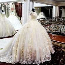Rose Moda Luxury Long Sleeves Lace Princess Wedding Ball Gown Royal Train Puffy Lace Wedding Dresses Turkey 2017