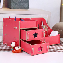 Table Desk Drawer Style Wooden Cosmetic Container Storage Organiser Box(China)