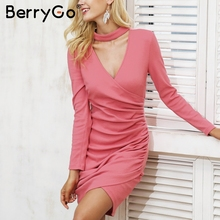 Buy BerryGo Sexy halter v neck winter sweater dress women Long sleeve ruched black bodycon dress female Chic party dress autumn 2017