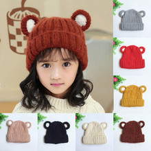 MUQGEW Cute Baby Toddler Ear Pattern Vertical Stripe Knitted Winter Warm Hat Cap Newborn Props Baby Winter Chapeu Infantil Q06