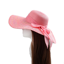 Surblue Summer Sun hats for Women Beach straw Hat large visor pink wide brim Dress Bow tie Sun Protection Neck face Bucket Hat