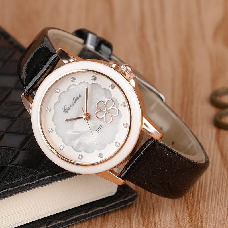 3 Colors Rhinestones Woman Wrist Quartz Watch Flower Stylish Crystal Leather Band Strap Modern Ladies Girl Watches Female Clock <br><br>Aliexpress
